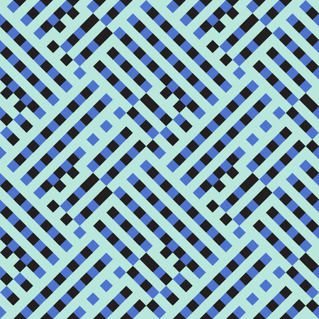 Abstract plaid geometric pattern with checks, diagonal overlapping stripes and crossing lines in dark blue color. Op art seamless geometric background. Simple bold print for summer spring fashion