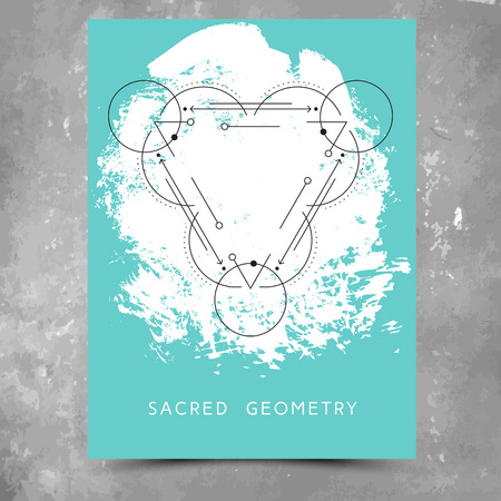 Vector geometric alchemy symbols with phrase on hand drawn background with splash of aqua blue paint. Abstract occult and mystic sign.  Concept of yoga
