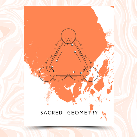 alchemist: Vector geometric alchemy symbols on hand drawn background with splash of paint.