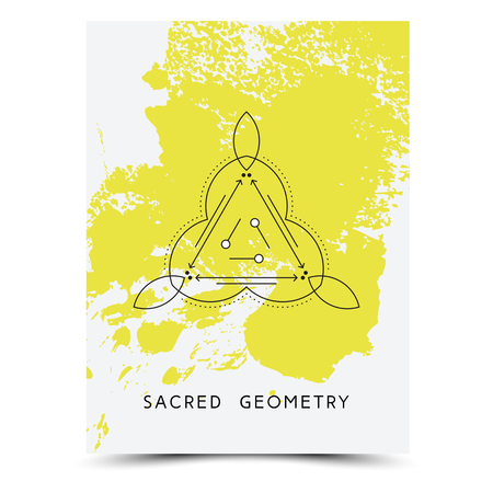 phrases: Vector geometric alchemy symbols with phrases on hand drawn background with splash of yellow paint Illustration