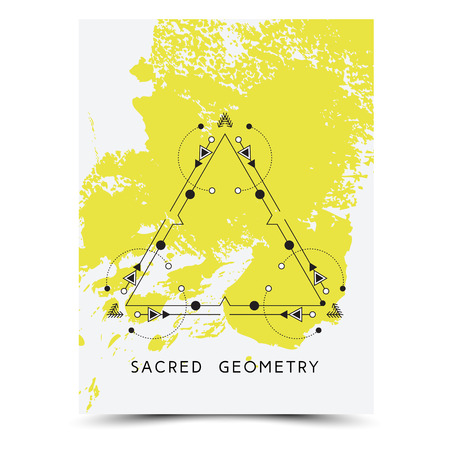 signs and symbols: Vector geometric alchemy symbols with phrases on hand drawn background with splash of yellow paint. Abstract occult and mystic signs