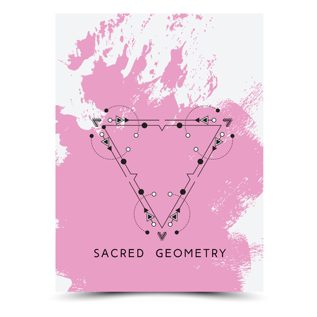 phrases: Vector geometric alchemy symbols with phrases on hand drawn background with splash of pink paint.