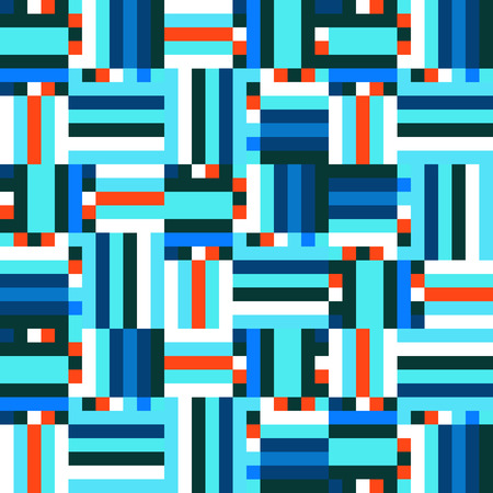 winter fashion: Geometric colorful op art pattern. Vector stripes in blue colors. Geometric background with squares, dots, pixels and stripes. Striped print for winter fashion. Textile design with geometric shapes