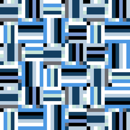 winter colors: Geometric colorful op art pattern. Vector stripes in blue colors. Geometric background with squares, pixels and stripes. Striped print for fall winter fashion. Textile design with geometric shapes Illustration