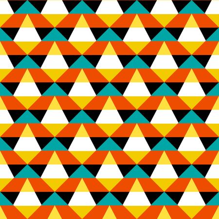 Abstract geometric color blocked pattern with stripes, squares, random geometric shapes. Vector seamless abstract print in op art style. Orange and blue bold textile design for fall winter fashion