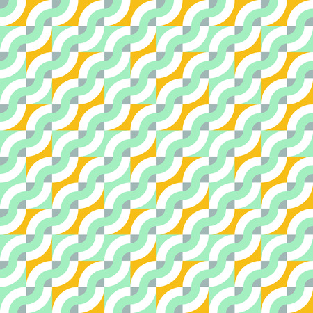 retro color: Vector geometric seamless pattern with diagonal waves, lines and stripes. Striped color blocked print in retro memphis style for spring summer fashion. Abstract waving retro art in pastel mint green