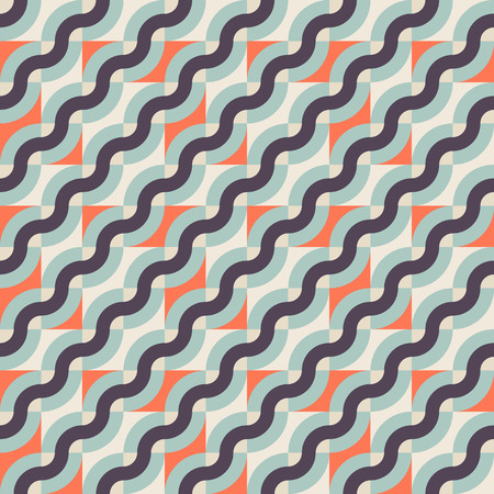 retro color: Vector geometric seamless pattern with diagonal waves, lines and stripes in retro colors. Striped modern color blocked print in retro memphis style for fall summer fashion. Abstract waving retro art Illustration