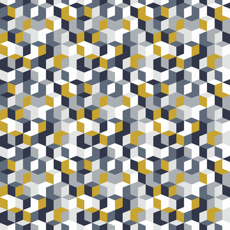 Vector geometric seamless pattern with diamond shapes in monochrome grey yellow colors. Modern op art print with random mosaic cubes for fall winter fashion. Abstract techno memphis check background