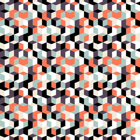 abstract cubes: Vector geometric seamless pattern with small diamond shapes in black, grey, red color. Modern op art print with random mosaic cubes for fall winter fashion. Abstract techno memphis check background