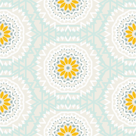 indian summer: Vector tribal colorful bohemian pattern with big abstract flowers in pastel colors. Geometric boho chic background with Arabic, Indian, Moroccan, Aztec ethnic motifs. Bold ethnic print with mandalas