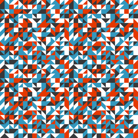 fashion background: Vector geometric seamless pattern with small triangles in bright colors. Modern bold print with small shapes for fall winter fashion. Abstract dynamic techno op art background. Geometry and mosaic