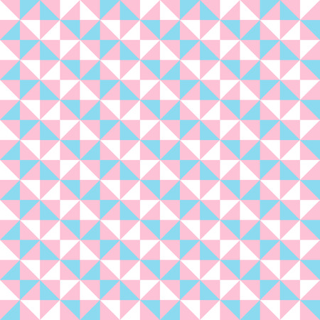 Small geometric abstract mosaic pattern with triangles and simple shapes in pink, white, blue colors for fall winter fashion. Abstract techno op art background. Seamless vector print in memphis style Illustration