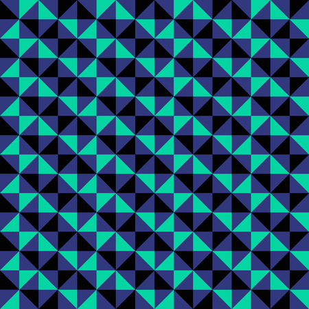 Small geometric abstract mosaic pattern with triangles and simple shapes in black, green, blue colors for fall winter fashion. Abstract dynamic techno op art background. Seamless vector textile print