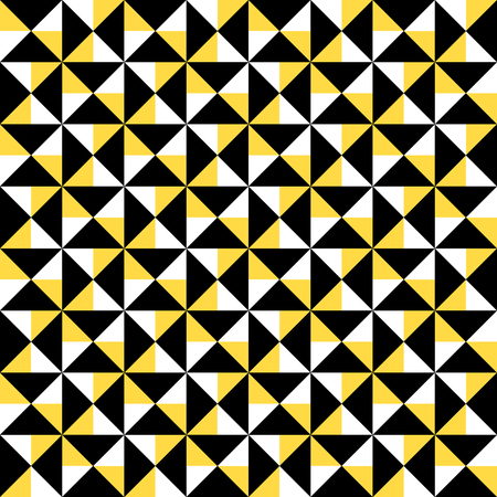 Small geometric abstract mosaic pattern with triangles and simple shapes in black, white, yellow color for fall winter fashion. Abstract dynamic techno op art background. Seamless vector textile print  イラスト・ベクター素材