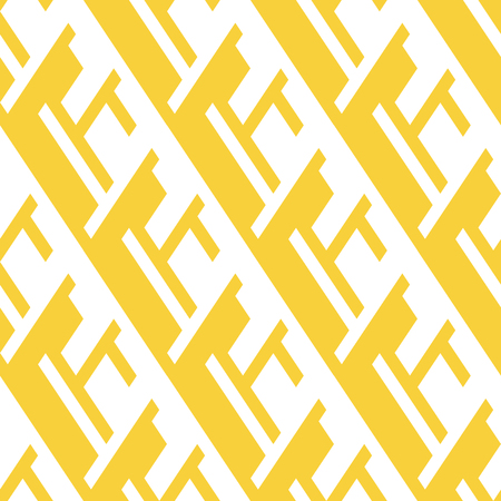 Vector geometric seamless pattern with line and overlapping shapes in yellow and white. Modern bold bright print with diamond shapes for fall winter fashion. Abstract dynamic tech op art background