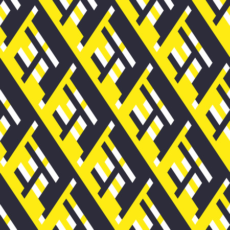 Vector geometric seamless pattern with lines and overlapping shapes in black, white, yellow color. Modern bold print with diamond shape for fall winter fashion. Abstract dynamic tech op art background