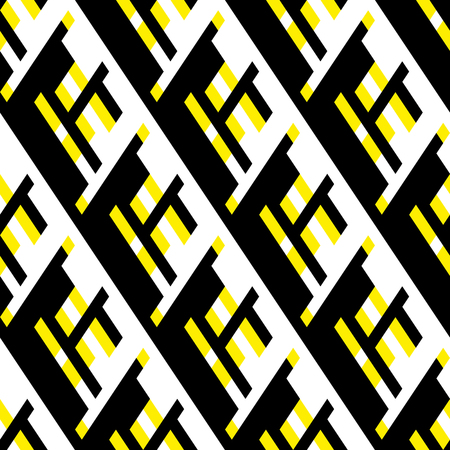 Vector geometric seamless pattern with lines and overlapping shapes in black, white, yellow color. Modern bold print with diamond shape for fall winter fashion. Abstract dynamic tech op art background Illustration