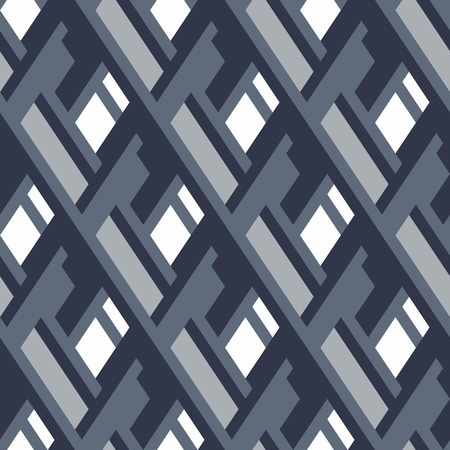 fall winter: Vector geometric seamless pattern with lines and overlapping shapes in grey. Modern bold monochrome print with diamond shape for fall winter fashion. Abstract dynamic tech op art background