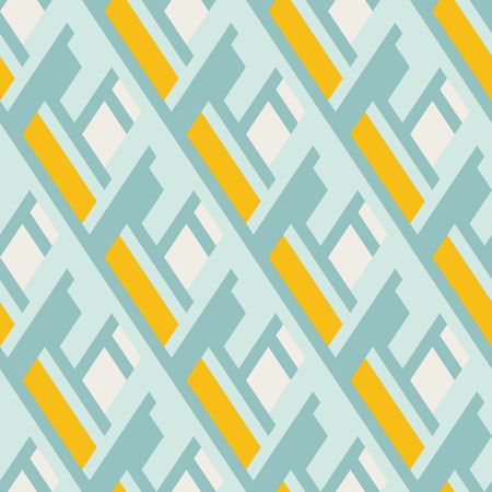 fall winter: Vector geometric seamless pattern with lines and overlapping shapes in blue, yellow, pastel color. Modern bold print with diamond shape for fall winter fashion. Abstract dynamic tech op art background