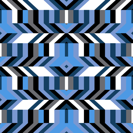 fall fashion: Abstract geometric color blocked pattern with lines, stripes, chevrons, random geometric shapes. Vector seamless abstract print in op art style. Colorful bold textile design for winter fall fashion