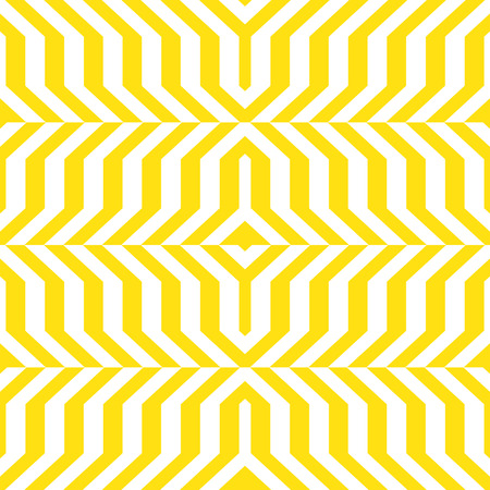 winter fashion: Abstract geometric monochrome pattern with lines, stripes, distorted geometric shapes. Vector seamless abstract print in op art style. Yellow and white bold textile design for fall winter fashion Illustration