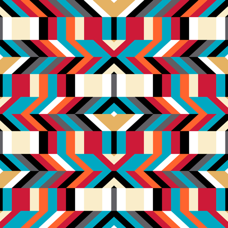 Abstract geometric color blocked pattern with lines, stripes, bricks, random geometric shapes. Vector seamless abstract print in op art style. Colorful bold textile design for summer fall fashion Illustration