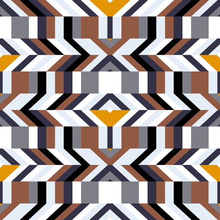 fall fashion: Abstract geometric color blocked pattern with lines, stripes, bricks, random geometric shapes. Vector seamless abstract print in op art style. Colorful bold textile design for summer fall fashion Illustration