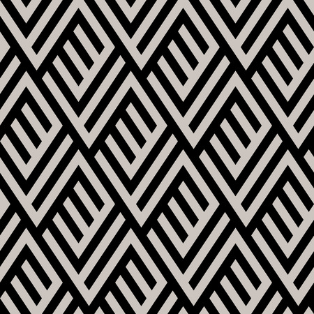fall fashion: Abstract geometric pattern with maze, diagonal overlapping stripes and crossing lines in black and white. Op art seamless geometric background. Simple monochrome bold print for winter fall fashion
