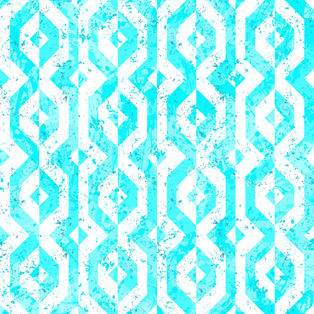 Vector geometric seamless pattern with lines and geometric shapes in blue and white. Modern bold bright print with diamond shapes for fall winter fashion. Abstract dynamic tech op art background. Иллюстрация