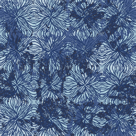 Vector watercolor splashes pattern in blue color. Bold nautical print for fashion and retro textile design with ethnic and tribal motif. Seamless vintage grunge background. Brushstrokes and splatter