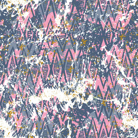Vector geometric pattern over pink and blue watercolor splashes. Bold hand drawn chevron pattern for sport fashion with ethnic, tribal motif. Seamless modern grunge striped background with zigzag line