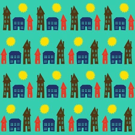 Vector pattern with small houses for kids room decor, wallpaper, fabric, textiles. Little town background illustration