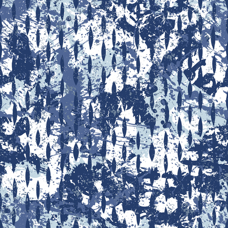 Vector watercolor splashes pattern in blue color. Bold bohemian print for fashion and retro textile design with ethnic and tribal motif. Seamless vintage grunge background. Brushstrokes and splatter