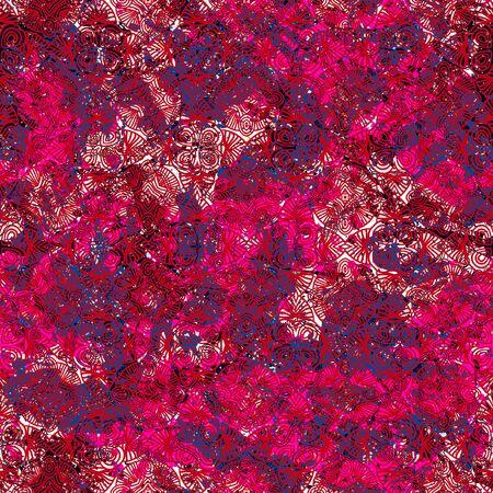 深い赤の水彩スプラッタにビンテージみすぼらしいシックなレトロなスタイルでアンティーク パターンをベクトル。波線、ブドウの木、春夏ファッ