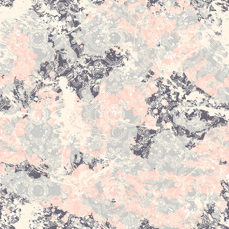 Vector antique pattern in vintage shabby chic retro style on pastel pink watercolor splatter. Romantic print with wavy lines, curve for spring summer fashion. Small abstract background with lace
