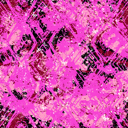Seamless vector ethnic geometric pattern over pink watercolor splash Stock Illustratie