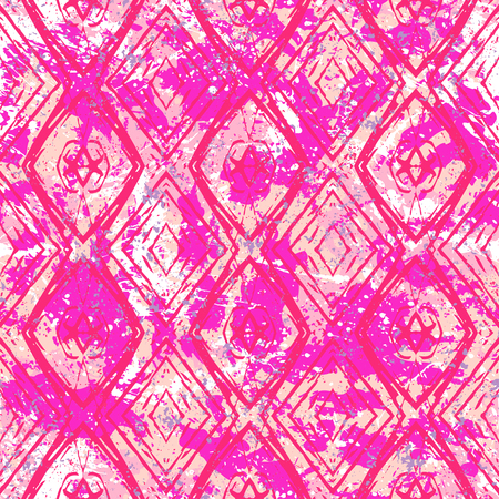 Vector ethnic geometric pattern over pink watercolor splash. Bold hand drawn chevron pattern for fashion with ethnic, tribal motif. Seamless modern grunge striped background with zigzag lines stripes