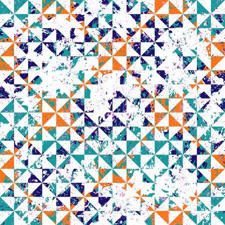 Small geometric abstract mosaic pattern with triangles and simple shapes in vintage colors for fall winter fashion. Abstract dynamic retro tiles background. Seamless simple grunge micro vector print