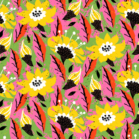 Bold spring summer print with flowers and leafs hand drawn in bright colors.