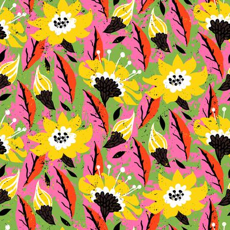 Vet lente zomer print met bloemen en bladeren hand getekend in felle kleuren. Stock Illustratie