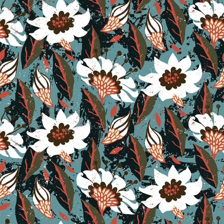 Vector hand painted floral pattern with flower on green background. Bold spring summer print with flowers and leaf hand drawn. Floral grunge bohemian print for retro textile design, fabric, home decor