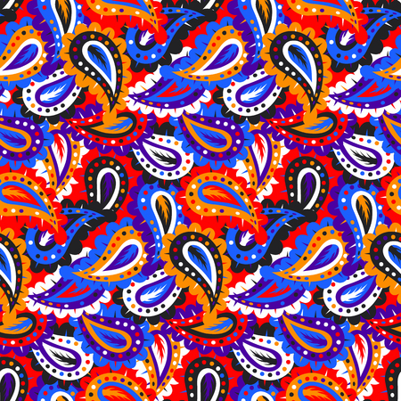 Colorful paisley vector seamless pattern