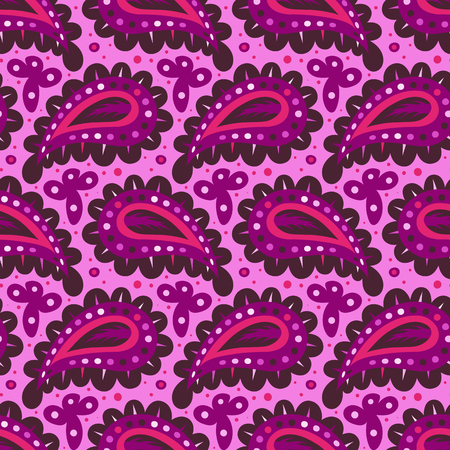 Pink paisley vector seamless pattern