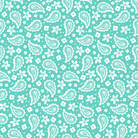 Blue paisley vector seamless pattern. Bold bohemian print with ethnic Indian, Turkish, Arabic, Moroccan, Marrakesh motif. Bright vintage background for retro boho chic textile design and fashion Illustration