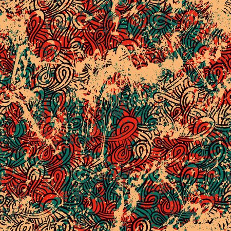 Vintage grunge pattern in organic red color on colorful hand painted background. Bold ethnic print with waving lines and abstract shapes on paint splatters and splashes. Soft texture with tribal motif