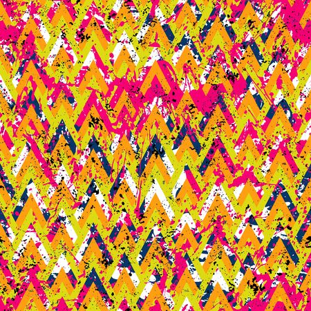Grunge chevron vector pattern on splashed and splattered watercolor paint. Bold zigzag print with retro motif in vintage boho chic style. Modern geometric texture in red orange pink colors