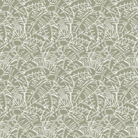 Pattern with tropical banana leafs