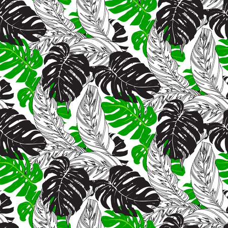 Jungle pattern with tropical leaves