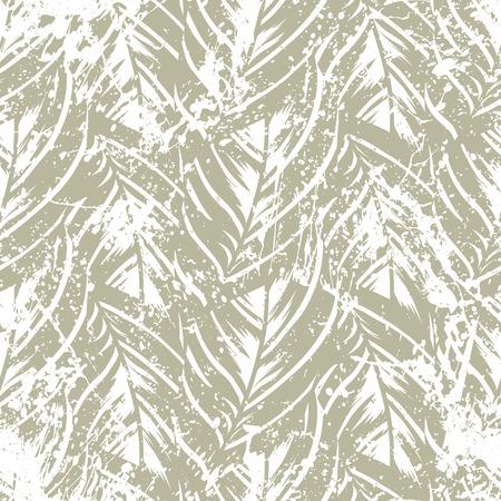 Audaz estampado abstracto de la jungla con silueta del follaje de la isla paraíso. Vector sin patrón floral verde inspirado en la naturaleza tropical