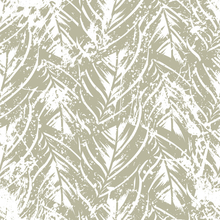 Bold abstract jungle print with silhouette of paradise island foliage. Vector seamless floral green pattern inspired by tropical nature